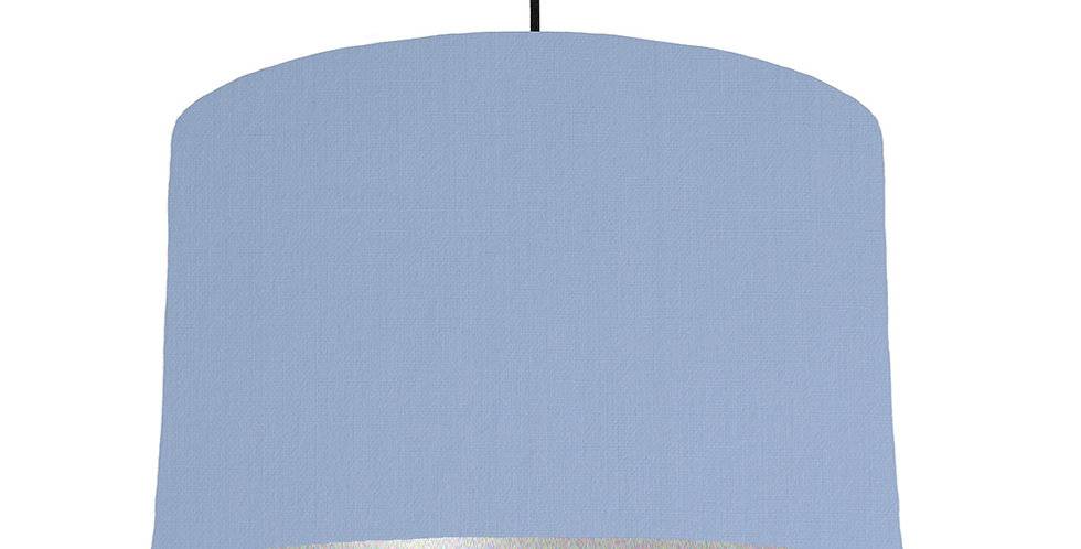 Sky Blue & Silver Matt Lampshade - 40cm Wide