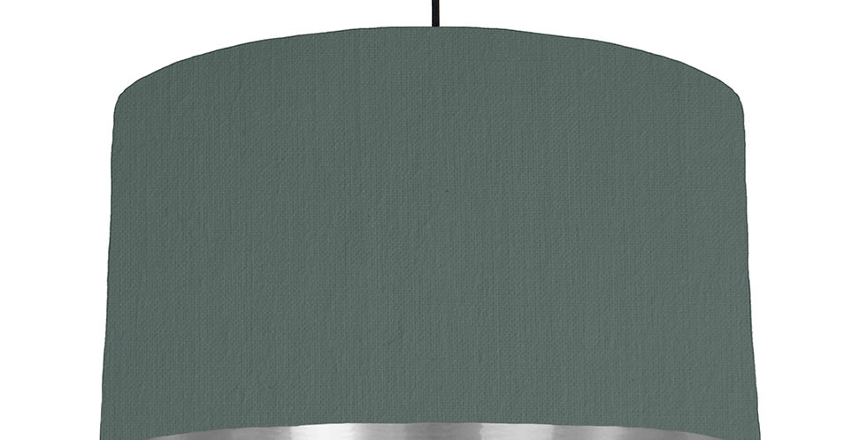Bottle Green & Silver Mirrored Lampshade - 50cm Wide