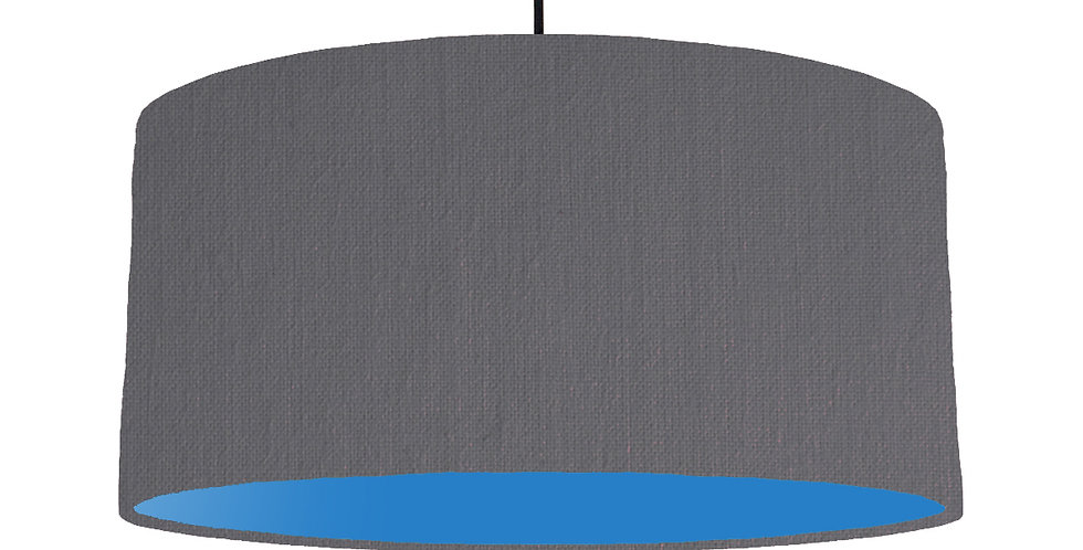 Dark Grey & Bright Blue Lampshade - 60cm Wide
