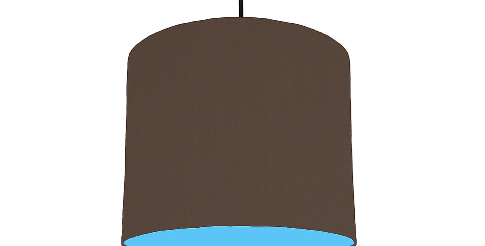 Brown & Light Blue Lampshade - 25cm Wide
