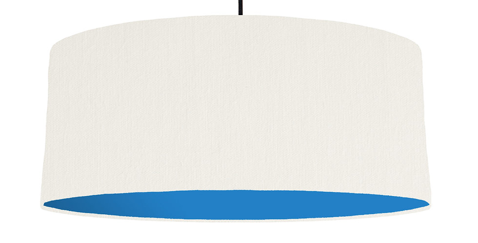 White & Bright Blue Lampshade - 70cm Wide