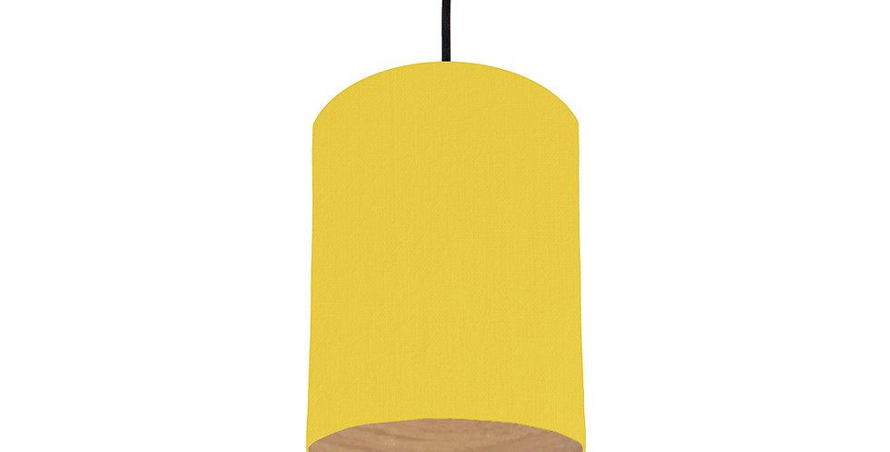 Lemon & Wood Lined Lampshade - 15cm Wide