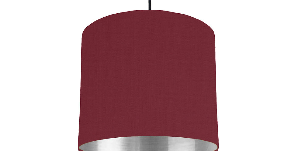 Wine Red & Silver Mirrored Lampshade - 25cm Wide