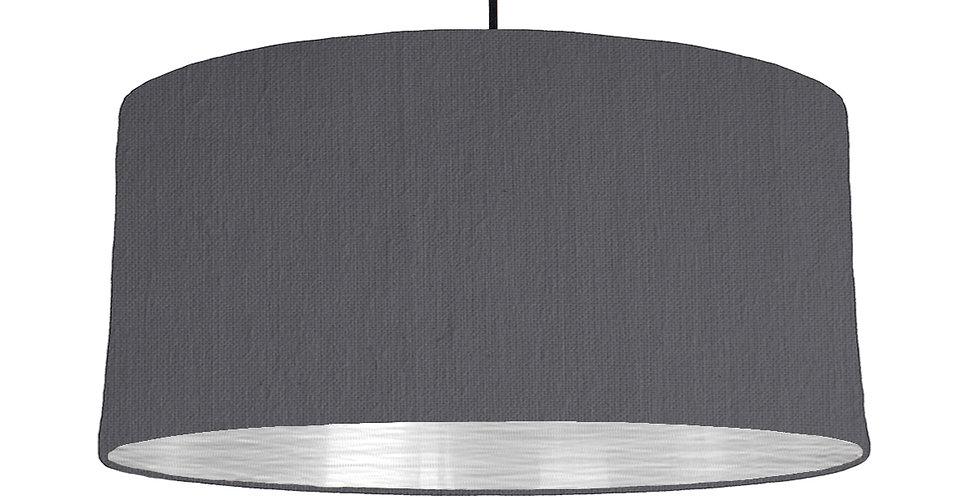 Dark Grey & Brushed Silver Lampshade - 60cm Wide