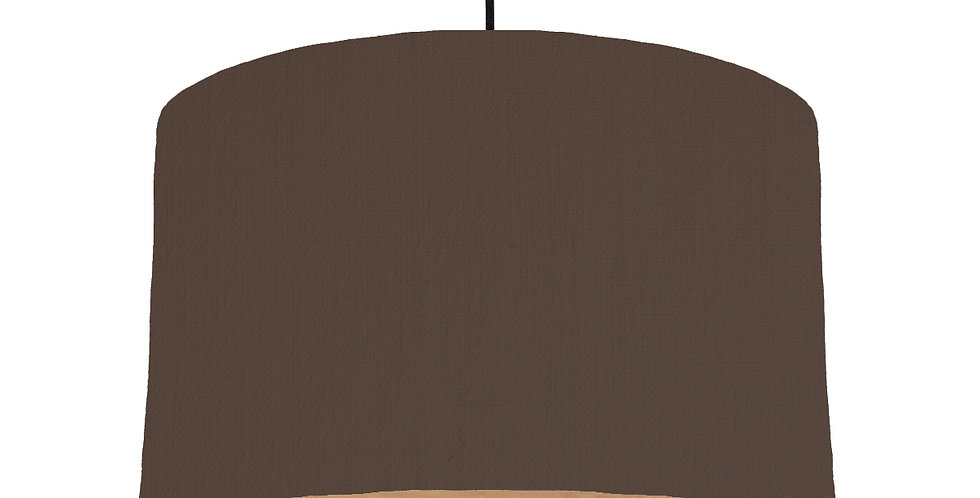 Brown & Wooden Lined Lampshade - 40cm Wide