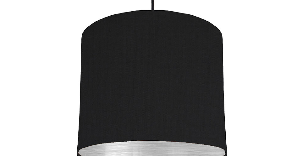 Black & Brushed Silver Lampshade - 25cm Wide