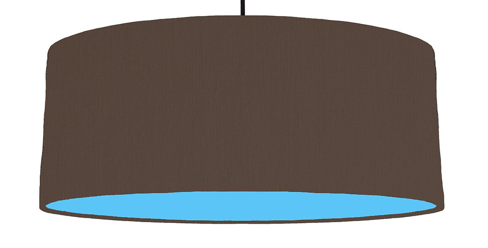 Brown & Light Blue Lampshade - 70cm Wide