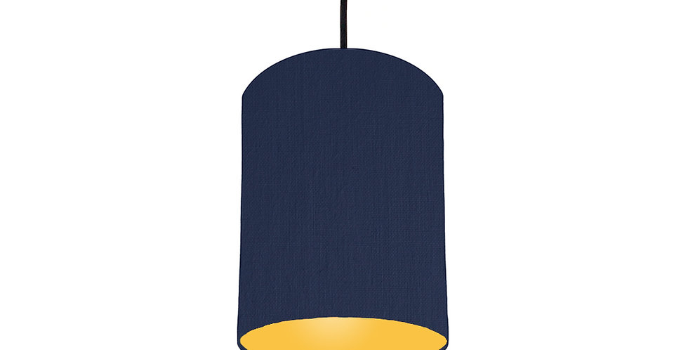 Navy Blue & Butter Yellow Lampshade - 15cm Wide