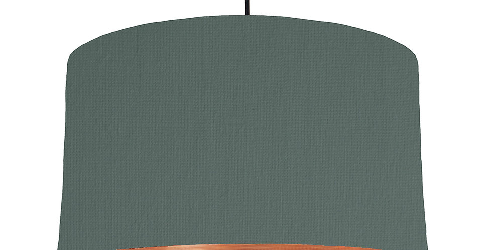 Bottle Green & Brushed Copper Lampshade - 50cm Wide