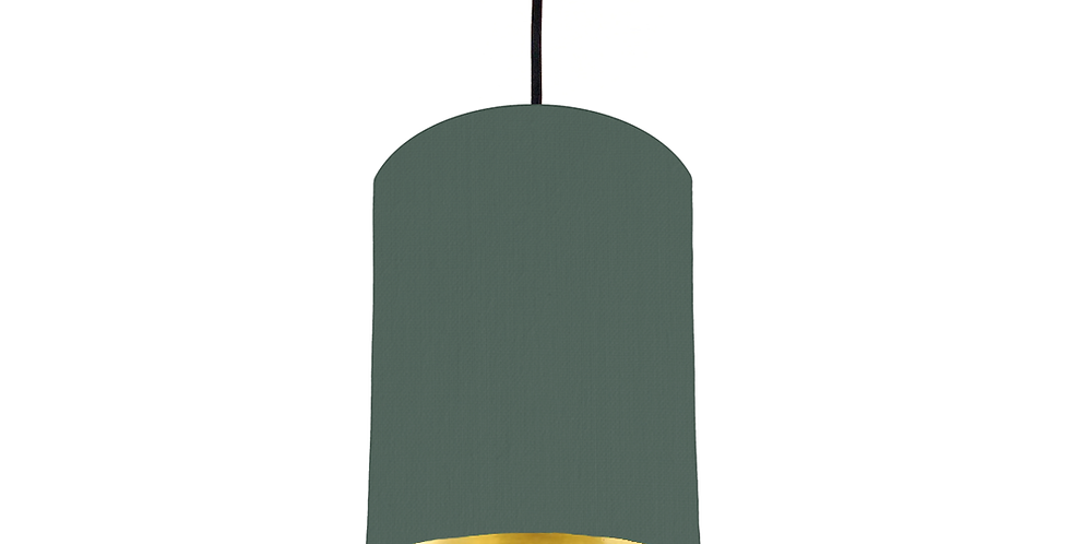 Bottle Green & Gold Mirrored Lampshade - 15cm Wide