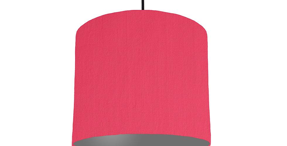 Cerise & Dark Grey Lampshade - 25cm Wide
