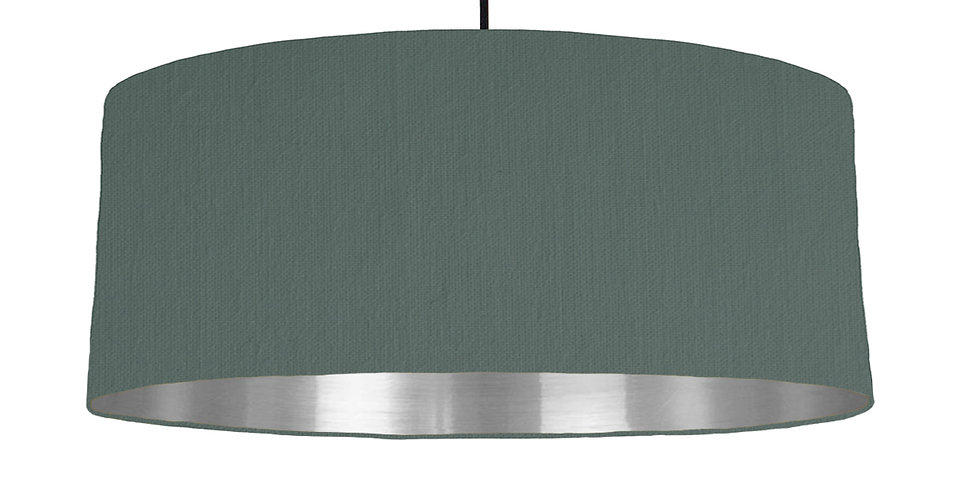 Bottle Green & Silver Mirrored Lampshade - 70cm Wide