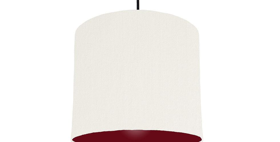 White & Burgundy Lampshade - 25cm Wide