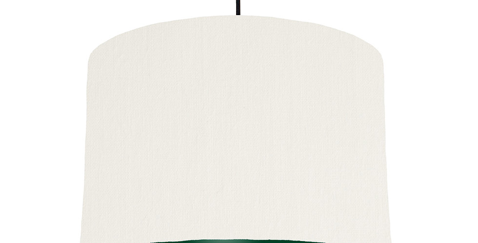 White & Forest Green Lampshade - 30cm Wide