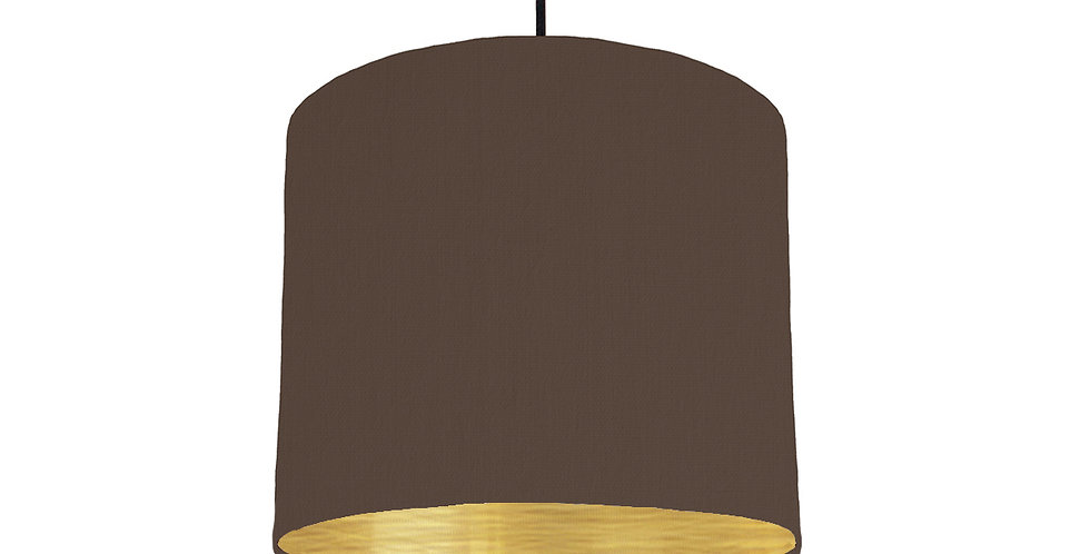 Brown & Brushed Gold Lampshade - 25cm Wide