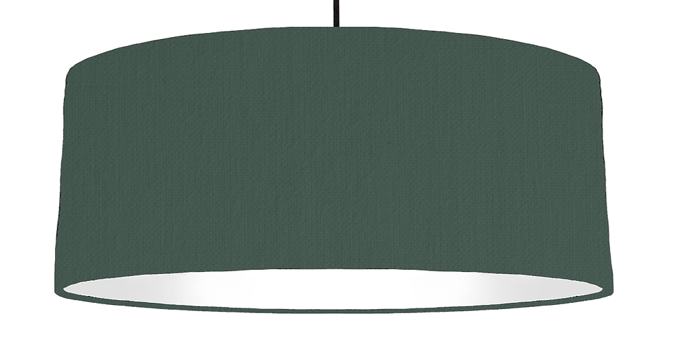 Bottle Green & White Lampshade - 70cm Wide