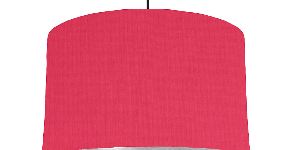 Cerise & Brushed Silver Lampshade - 40cm Wide