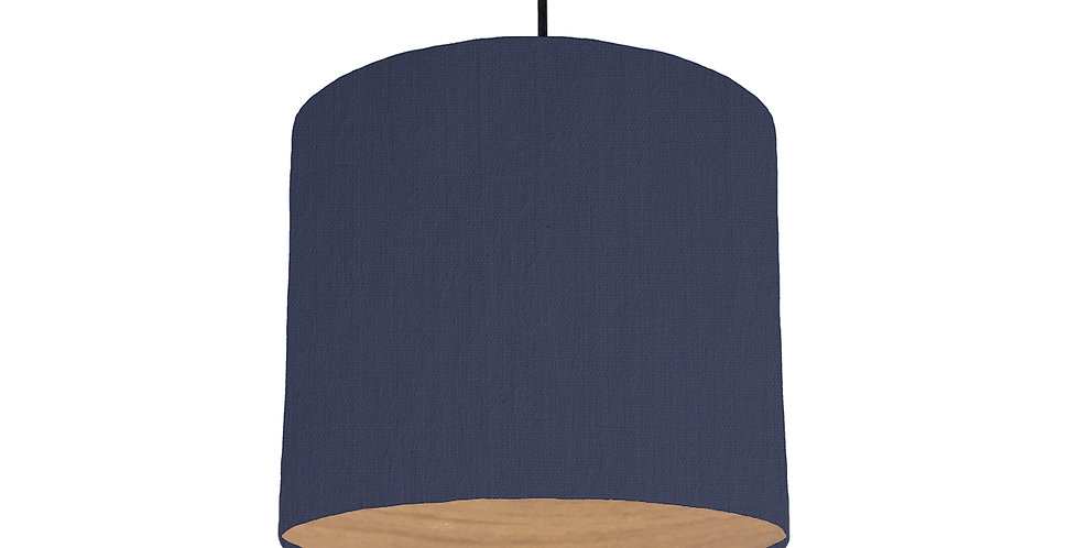 Navy & Wood Lined Lampshade - 25cm Wide