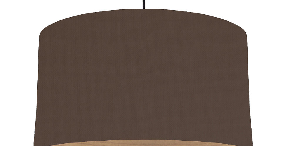 Brown & Wooden Lined Lampshade - 50cm Wide