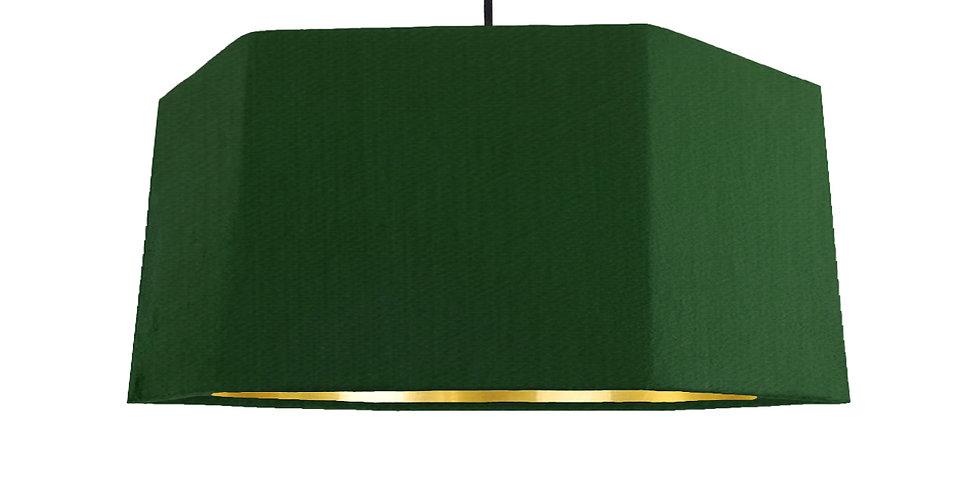 Bottle Green & Gold Mirror Hexagon Lampshade - 40cm Wide
