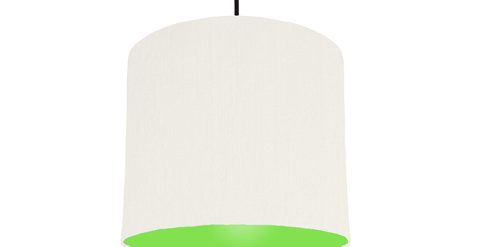 White & Lime Green Lampshade - 25cm Wide