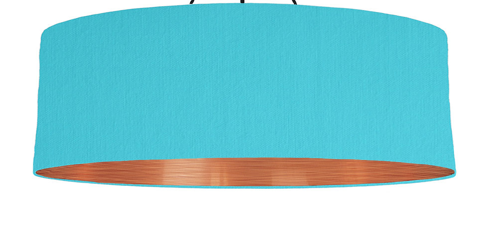 Turquoise & Brushed Copper Lampshade - 100cm Wide
