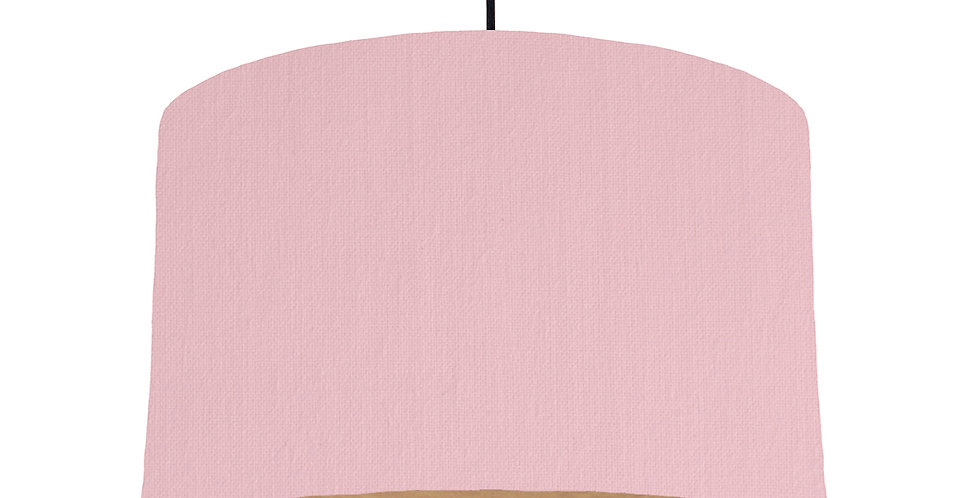 Pink & Wooden Lined Lampshade - 40cm Wide