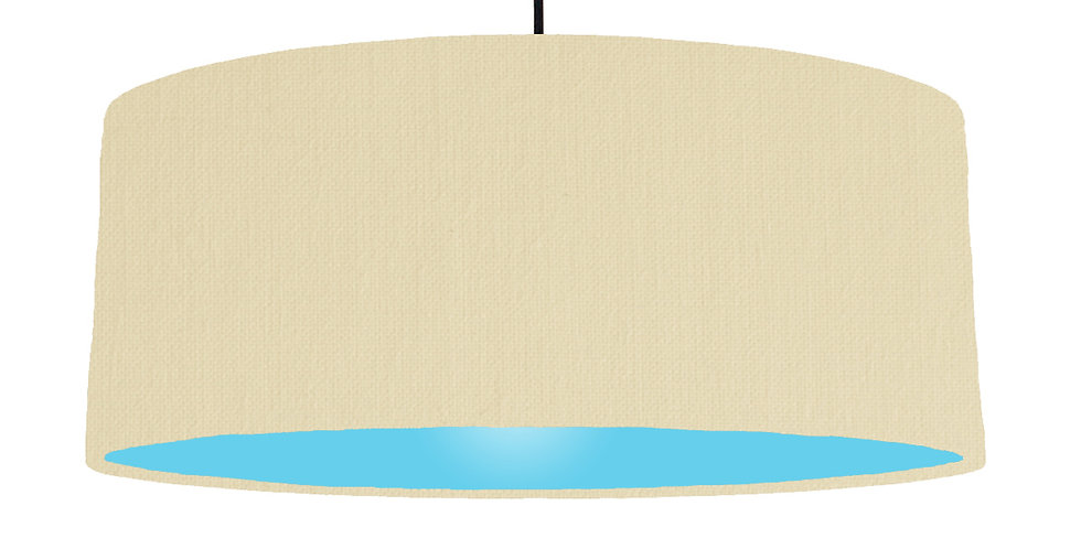 Natural & Light Blue Lampshade - 70cm Wide