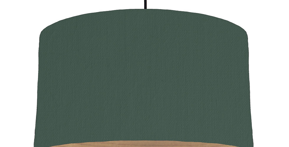 Bottle Green & Wooden Lined Lampshade - 50cm Wide
