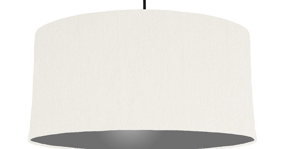 White & Dark Grey Lampshade - 60cm Wide