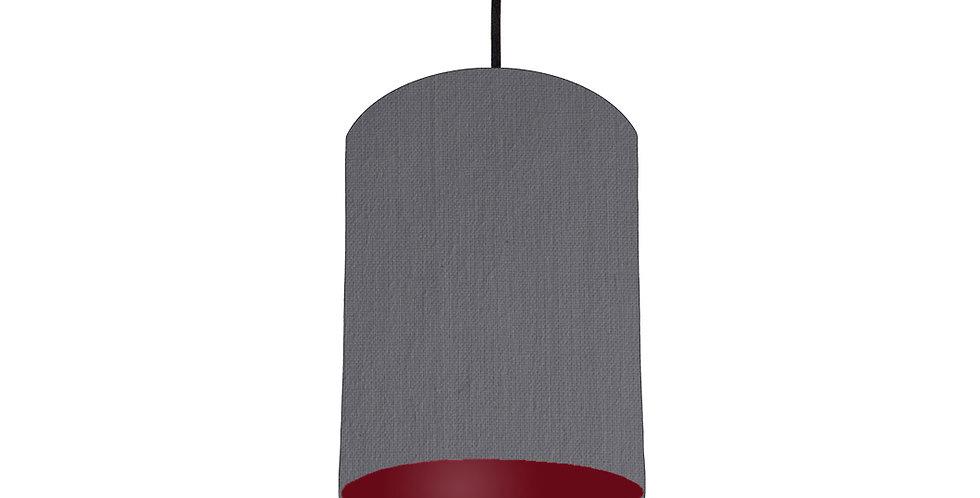 Dark Grey & Burgundy Lampshade - 15cm Wide