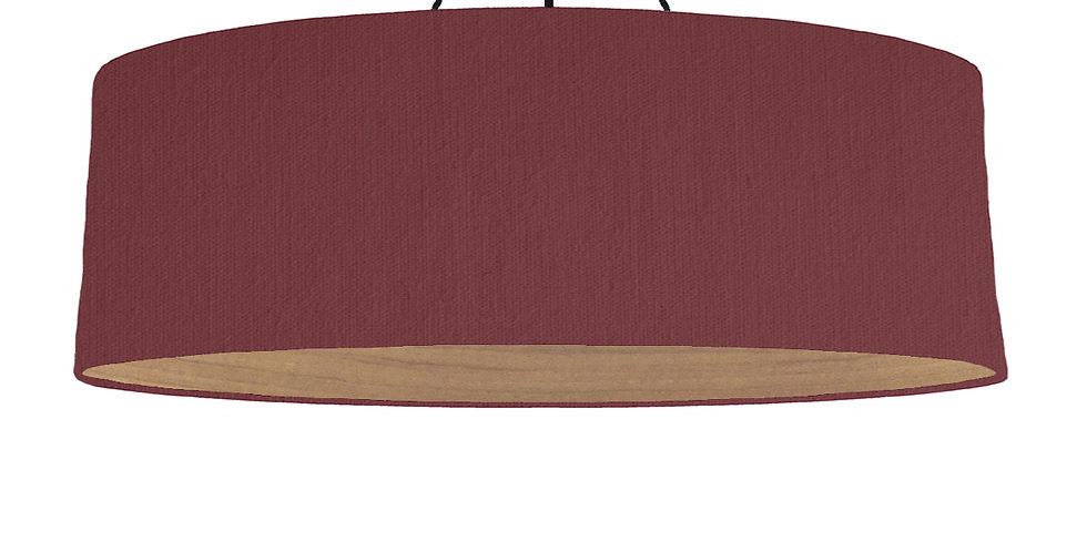 Wine Red & Wooden Lined Lampshade - 100cm Wide