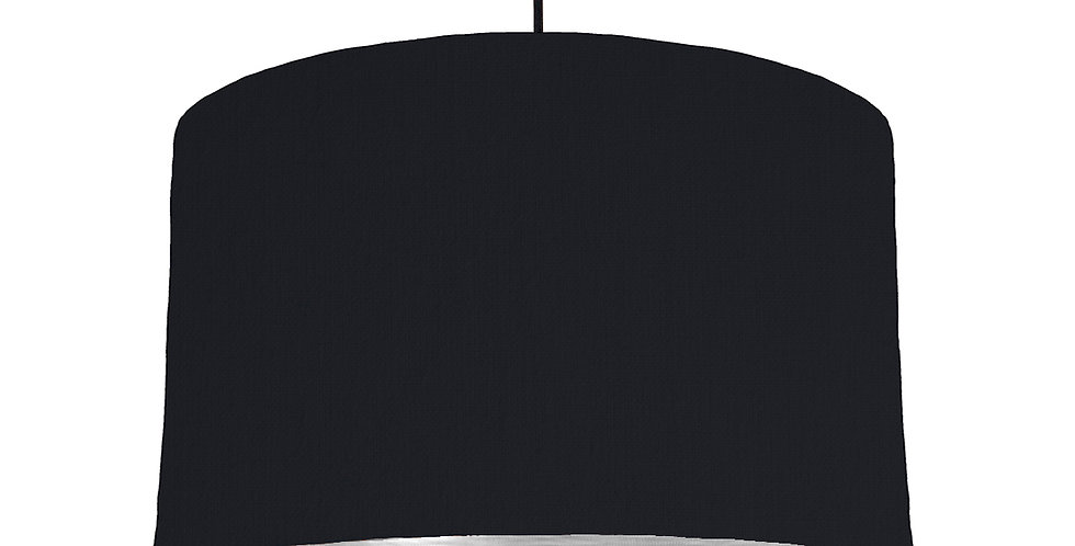 Black & Brushed Silver Lampshade - 40cm Wide