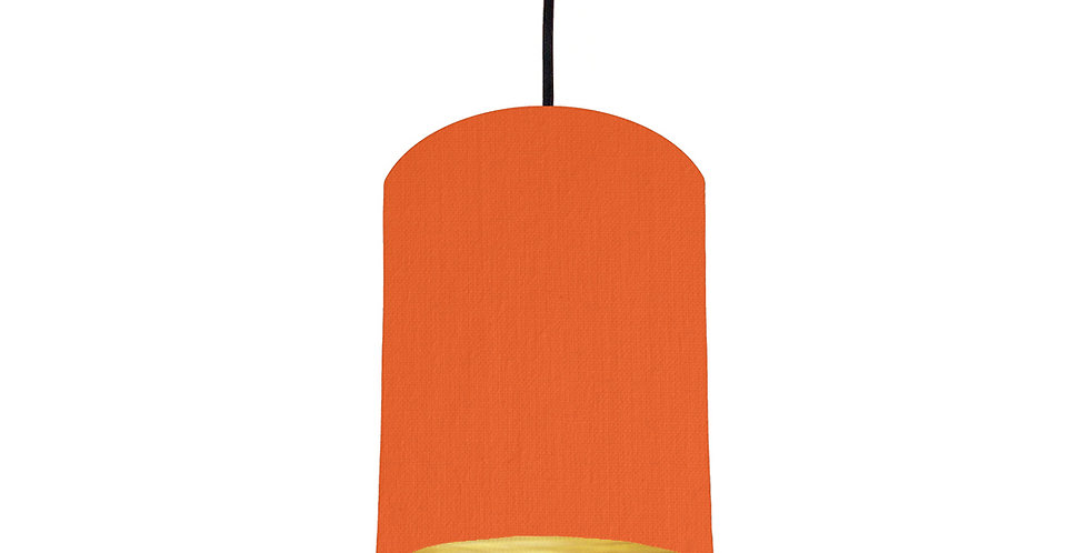Orange & Brushed Gold Lampshade - 15cm Wide