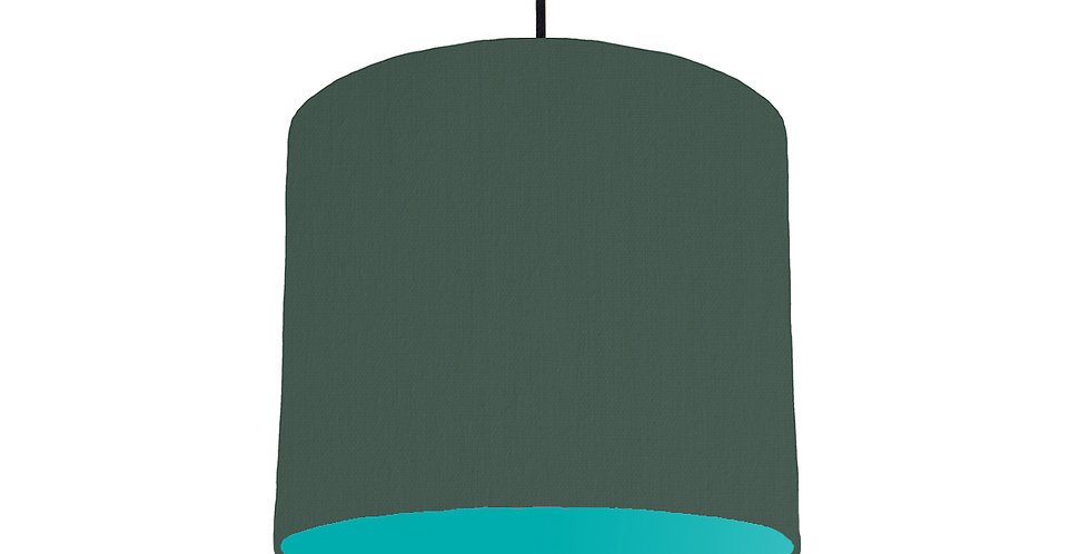 Bottle Green & Turquoise Lampshade - 25cm Wide