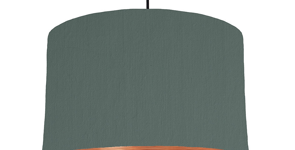Bottle Green & Brushed Copper Lampshade - 40cm Wide