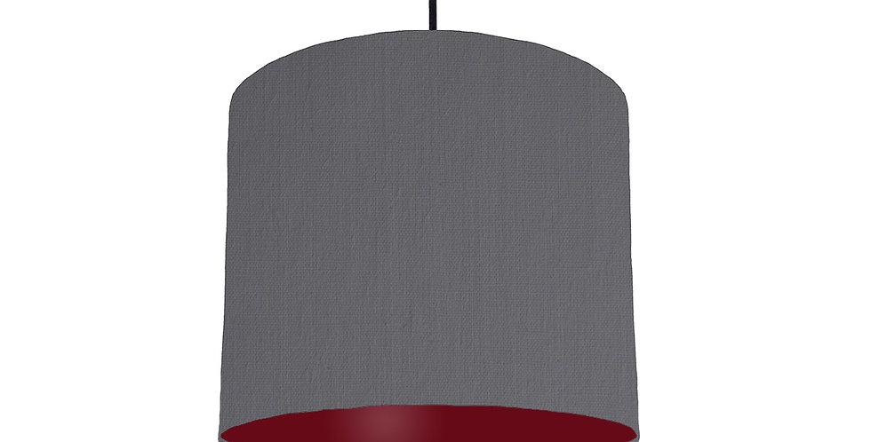 Dark Grey & Burgundy Lampshade - 25cm Wide