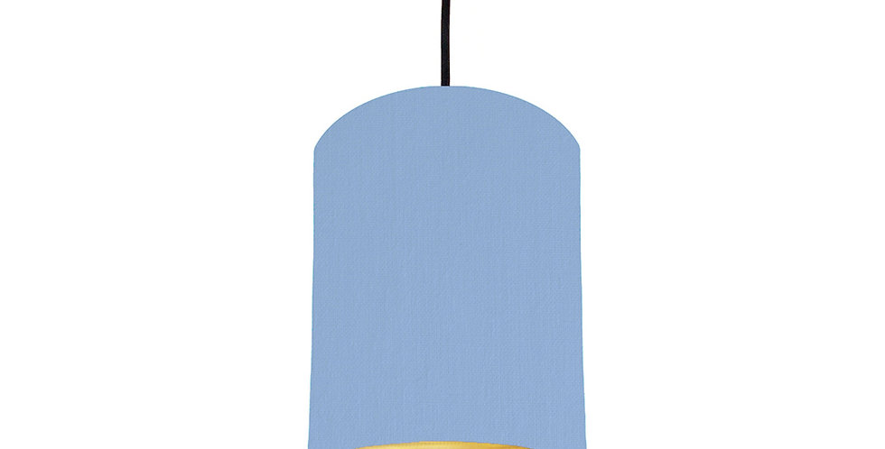 Sky Blue & Brushed Gold Lampshade - 15cm Wide
