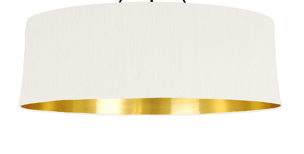 White & Gold Mirrored Lampshade- 100cm Wide
