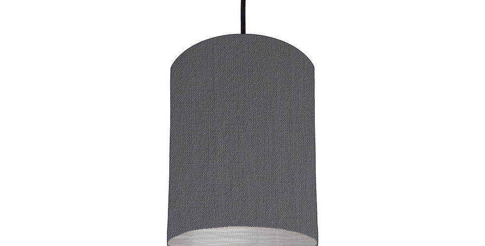 Dark Grey & Brushed Silver Lampshade - 15cm Wide