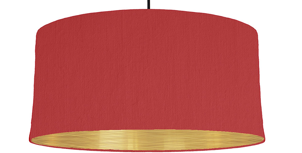 Red & Brushed Gold Lampshade - 60cm Wide