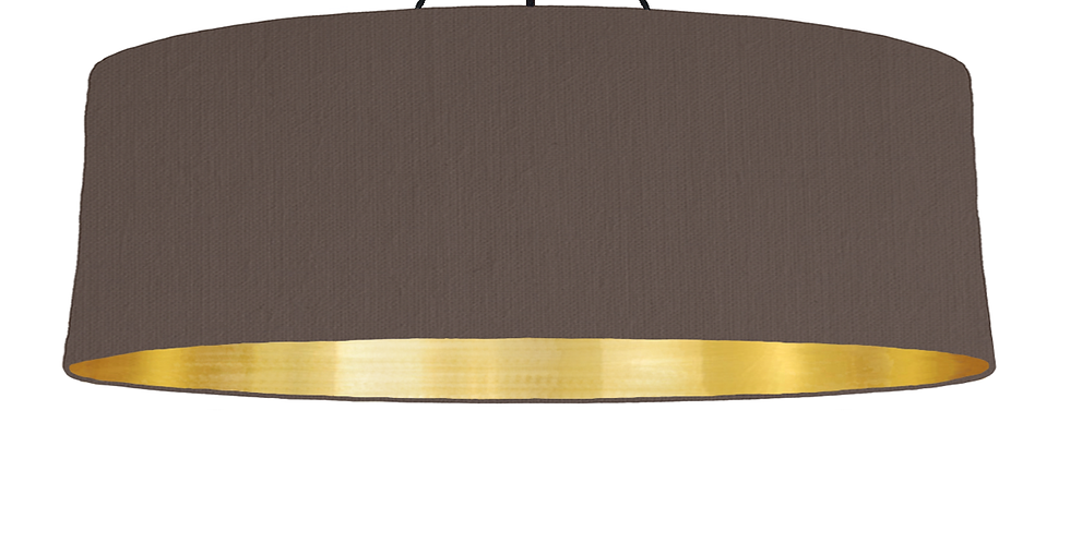 Brown & Brushed Gold Lampshade - 100cm Wide