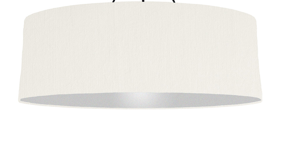 White & Silver Matt Lampshade - 100cm Wide