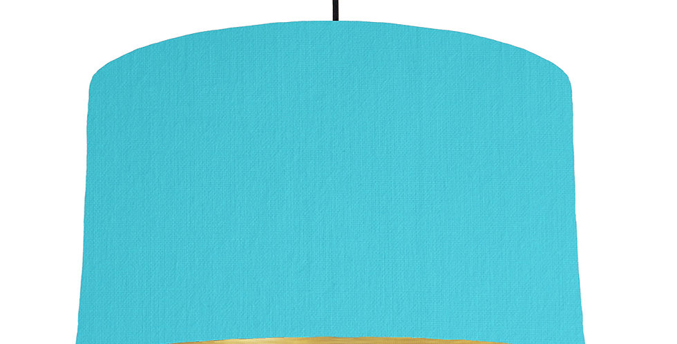 Turquoise & Brushed Gold Lampshade - 50cm Wide