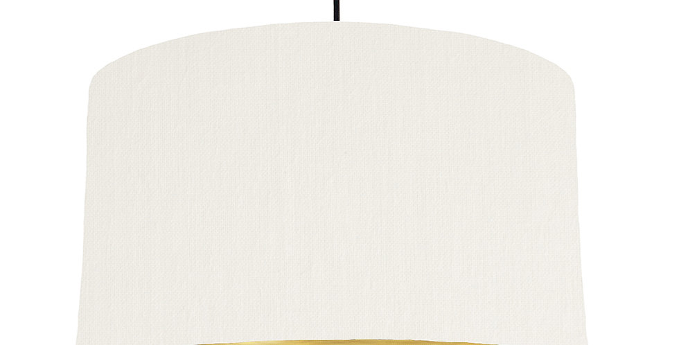 White & Brushed Gold Lampshade - 50cm Wide