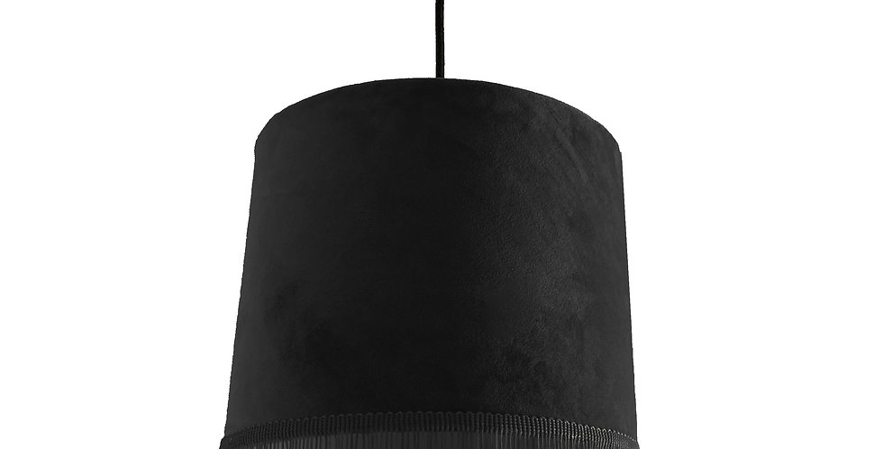 Black Velvet Lampshade With Trim & White Lining