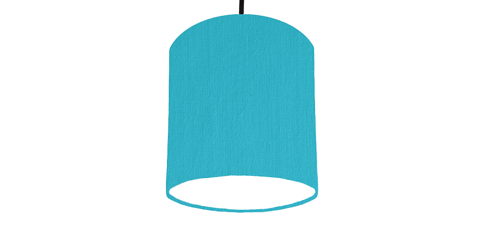 Turquoise & White Lampshade - 15cm Wide