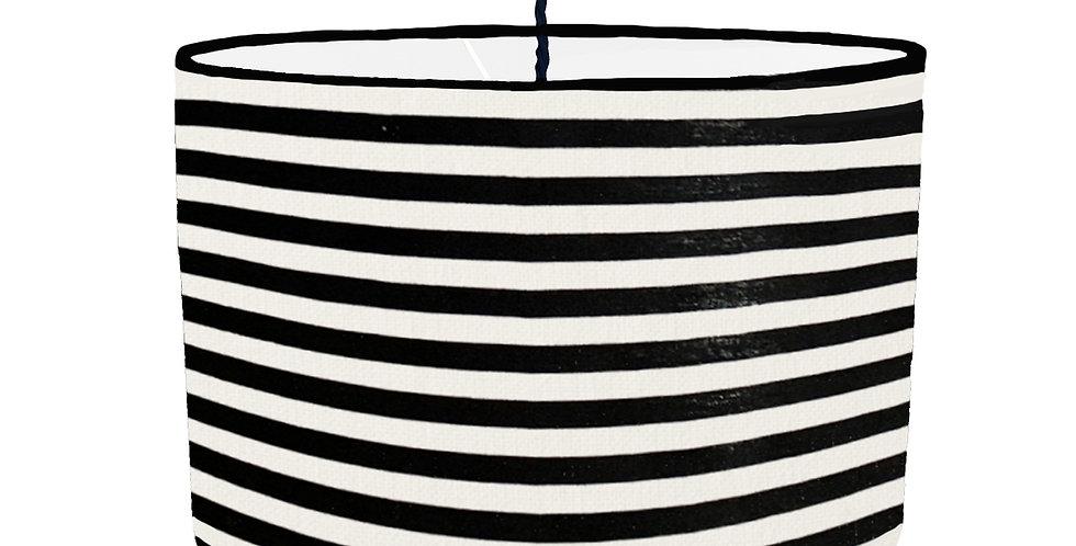Black & White Striped Lampshade - White Lining