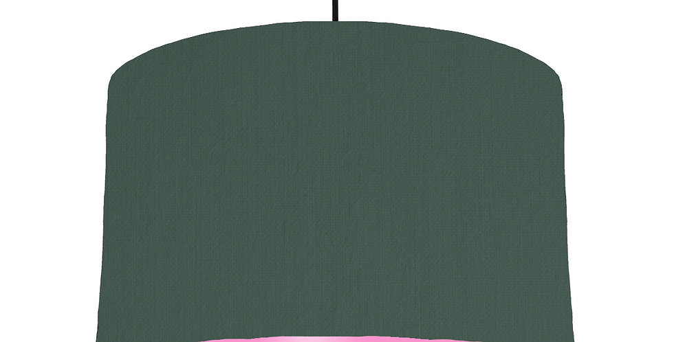 Bottle Green & Pink Lampshade - 40cm Wide
