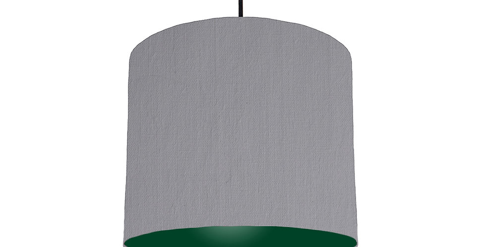 Light Grey & Forest Green Lampshade - 25cm Wide